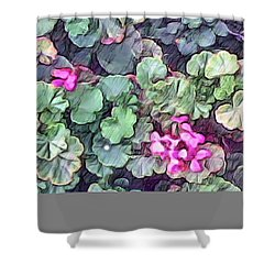Pink Flowers Painting Shower Curtain