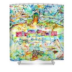 Pink Floyd Live At Pompeii Watercolor Painting Shower Curtain by Fabrizio Cassetta