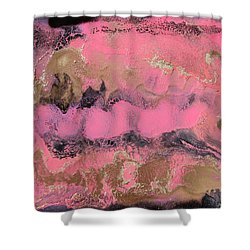 Pink Gold And Black Abstract Painting Shower Curtain