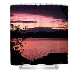 Pink Grapefruit Colored Sunset Shower Curtain by Kym Backland