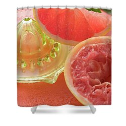 Pink Grapefruit Wedge, Squeezed Grapefruit, Citrus Squeezer Shower Curtain