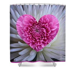 Pink Heart On White Shower Curtain
