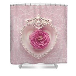 Pink Heart - Pink Camellia Shower Curtain