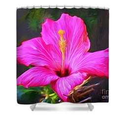 Pink Hibiscus Digital Painting In Oil Shower Curtain