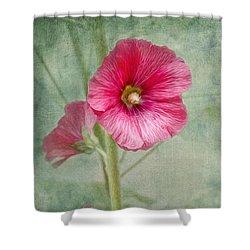 Pink Hollyhocks Shower Curtain