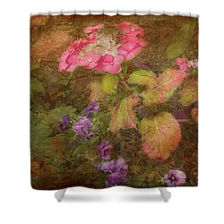Pink Hydrangea And Purple Pansies Shower Curtain
