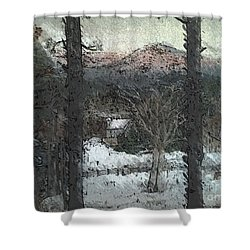 Shower Curtain featuring the painting Snow - Pink Mountain - Blueridge Mountains by Jan Dappen