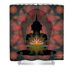 Pink Lotus Buddha Shower Curtain