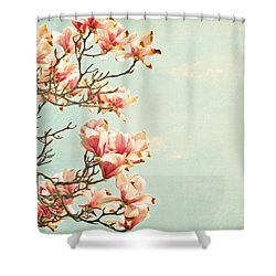 Pink Magnolia Flowers On Aqua Blue Green And French Script Shower Curtain by Brooke T Ryan