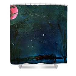 Pink Moon Shower Curtain