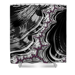 Pink On Black And White Fractal Abstract Shower Curtain
