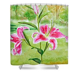 Pink Oriental Lillies Shower Curtain by Kathryn Duncan