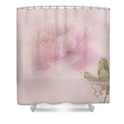 Pink Peony Blossom In Clear Glass Tea Pot Shower Curtain