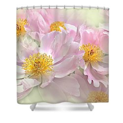 Pink Peony Flowers Parade Shower Curtain by Jennie Marie Schell