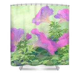Pink Petunias Beautiful Flowers Art Colorful Original Garden Floral Flower Artist K. Joann Russell  Shower Curtain by Elizabeth Sawyer