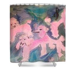 Pink Poodle Polka Shower Curtain