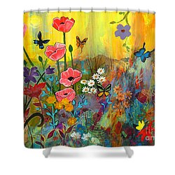 Shower Curtain featuring the painting Pink Poppies In Paradise by Robin Maria Pedrero