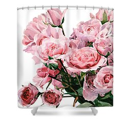 Pink Rose Bouquet Shower Curtain by Greta Corens