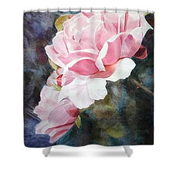Pink Rose Caroline Shower Curtain by Greta Corens