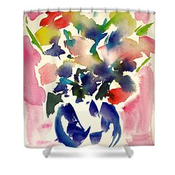 Pink Roses In A Blue Vase Shower Curtain by Tolere