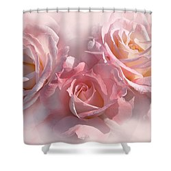 Pink Roses In The Mist Shower Curtain by Jennie Marie Schell