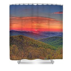 Pink Sunrise At Skyline Drive Shower Curtain
