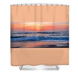 Pink Sunrise Panorama Shower Curtain by Kaye Menner
