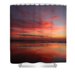 Ocean Sunset Reflected  Shower Curtain
