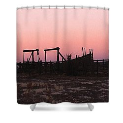 Pink Sunset Over Corral Shower Curtain by Cathy Anderson