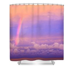 Shower Curtain featuring the photograph Pink Sunset Rainbow by Peta Thames