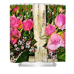Shower Curtain featuring the photograph Pink Sweetheart Roses by Judy Palkimas