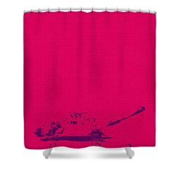Shower Curtain featuring the mixed media Pink Tank by Michelle Dallocchio