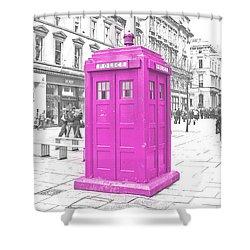 Pink Tardis  Shower Curtain by Rob Hawkins