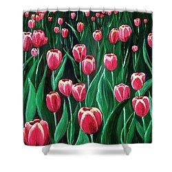 Pink Tulip Field Shower Curtain by Anastasiya Malakhova