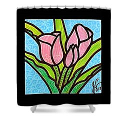 Pink Tulip Trinity Shower Curtain by Jim Harris