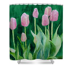 Pink Tulips Colorful Flowers Garden Art Original Watercolor Painting Artist K. Joann Russell Shower Curtain by Elizabeth Sawyer
