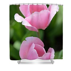 Pink Twins Shower Curtain by Kathleen Struckle