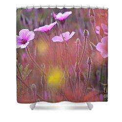 Pink Wild Geranium Shower Curtain