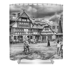 Shower Curtain featuring the photograph Pinocchio's Village Haus by Howard Salmon