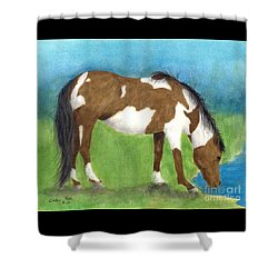 Pinto Mustang Horse Mare Farm Ranch Animal Art Shower Curtain by Cathy Peek