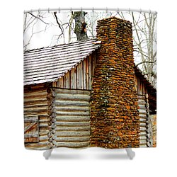 Pioneer Log Cabin Chimney Shower Curtain by Kathy  White