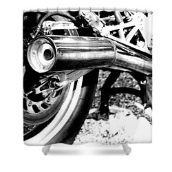 Pipe Black And White Shower Curtain