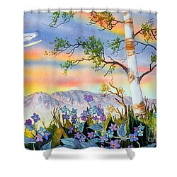Shower Curtain featuring the painting Piper Cub Over Sleeping Lady by Teresa Ascone
