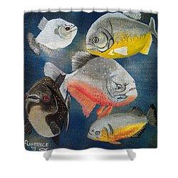 Pirahna  Fish Shower Curtain by Debbie LaFrance