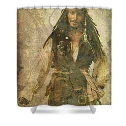 Pirate Johnny Depp - Steampunk Shower Curtain by Absinthe Art By Michelle LeAnn Scott