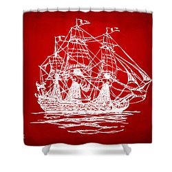Pirate Ship Artwork - Red Shower Curtain by Nikki Marie Smith