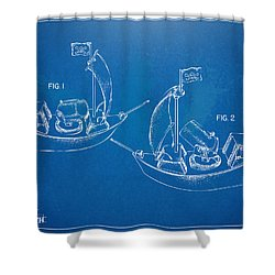 Pirate Ship Patent - Blueprint Shower Curtain by Nikki Marie Smith
