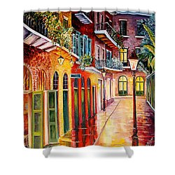 Pirates Alley By Night Shower Curtain by Diane Millsap
