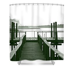 Pirate's Cove Pier In Monochrome Shower Curtain