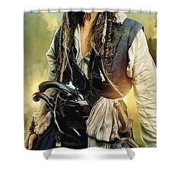 Pirates Of The Caribbean Johnny Depp Artwork 1 Shower Curtain by Sheraz A